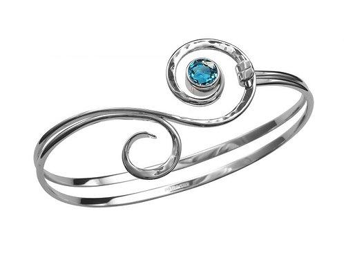 """""""Fiddlehead"""" Bracelet - Sterling Silver & Blue Topaz - Ed Levin Studio"""