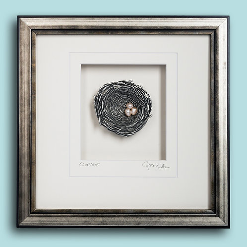 Bird's Nest (Framed, Cast Pewter, Pearls)