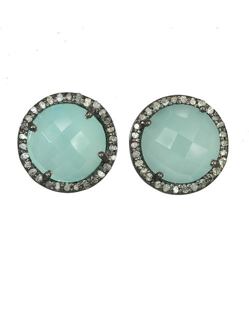 Peruvian Onyx & Diamond Stud Earrings
