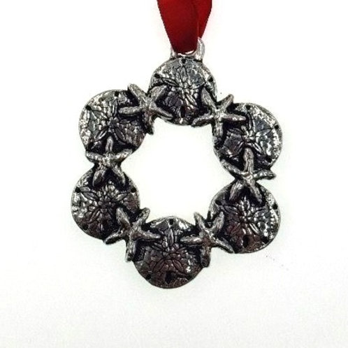 Shell Wreath Ornament - Pewter