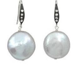 Pearl & White Sapphire Earrings
