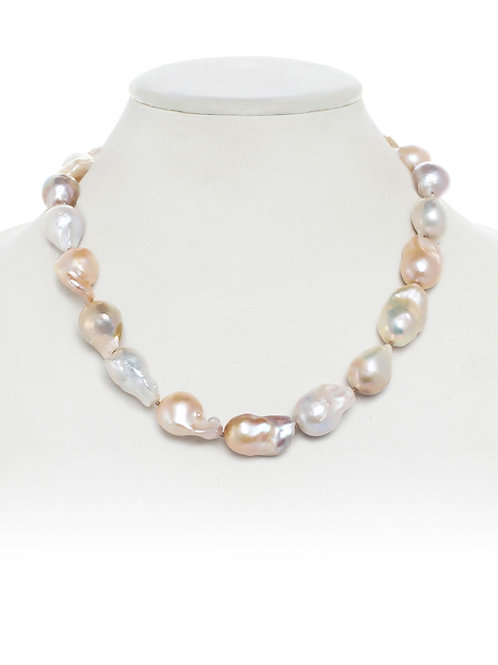 Margo Morrison - Organic Pink & Natural Baroque Pearl Necklace
