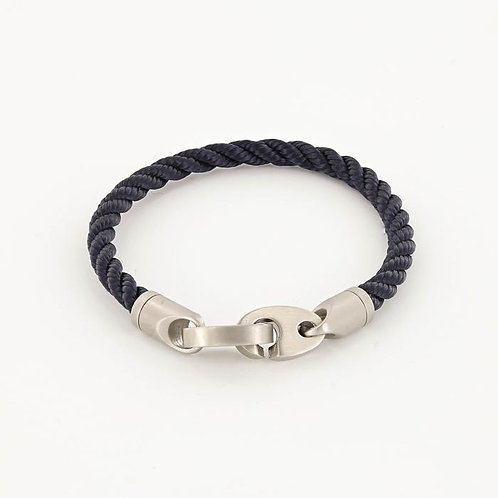 Single Wrap Rope Bracelet With Matte Stainless Steel Clasp - Navy