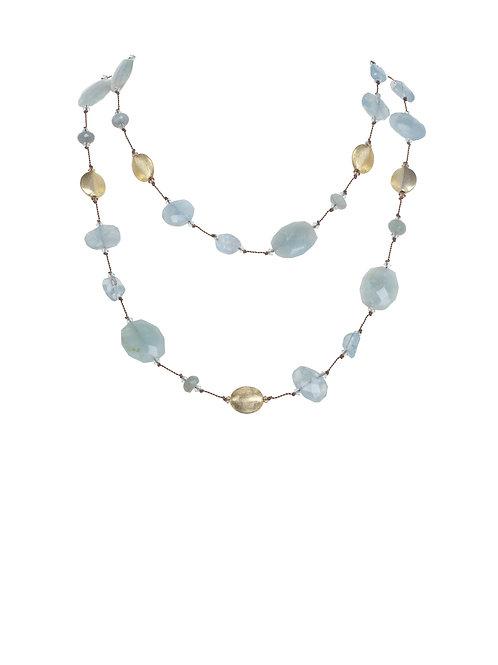 Margo Morrison - Aquamarine, Blue Topaz & 18kt Gold Vermeil Necklace