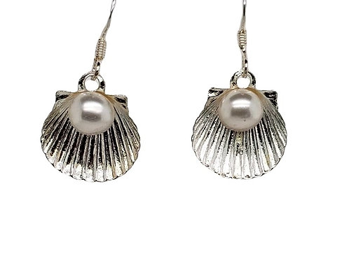 Scallop & Pearl Earrings - Sterling Silver