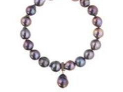 Margo Morrison - Peacock Baroque Pearl & Pave Diamond Bracelet