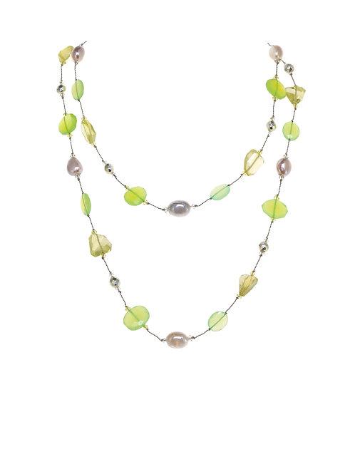 Margo Morrison - Lemon Quartz, Pyrite & Grey Moonstone Necklace