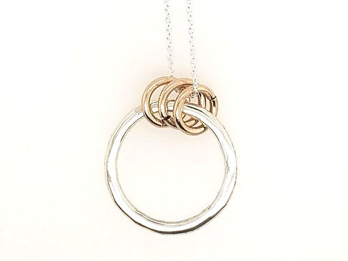 Sterling Silver & Gold Fill Hammered Circle Necklace