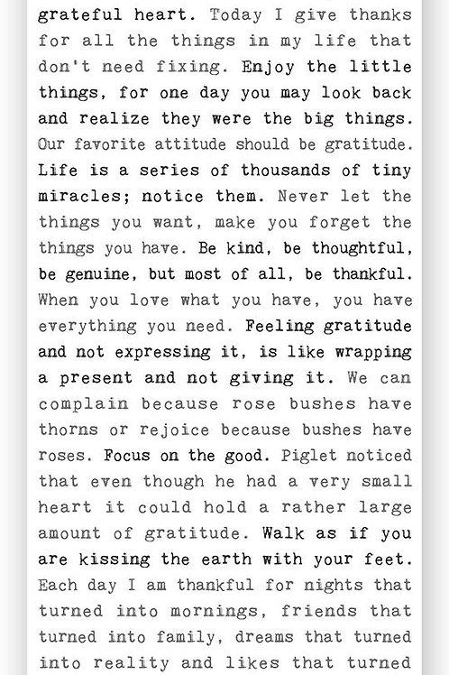 """""""Gratitude"""" Typewriter Sign"""