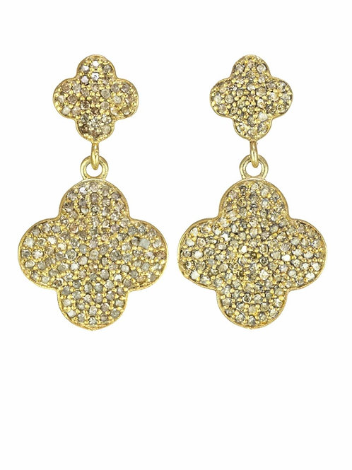 18kt Gold Vermeil & Pave Diamond Double Clover Earrings - Margo Morrison