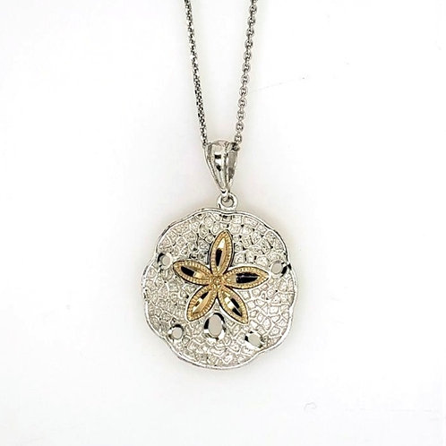 Sand Dollar Pendant - Sterling & 14kt Gold