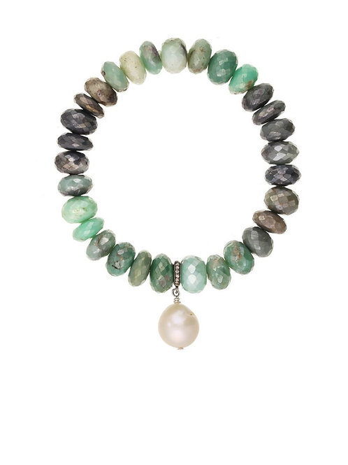 Chrysoprase Rondelle & Baroque Pearl Bracelet - Margo Morrison