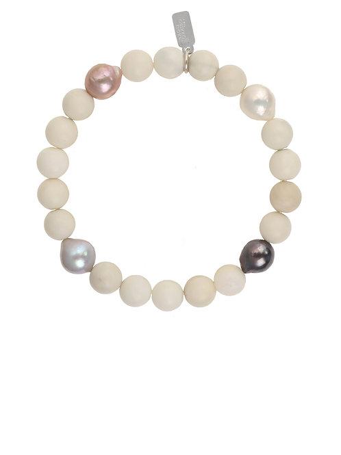 Margo Morrison - Ivory Jade & Baroque Pearl Bracelet