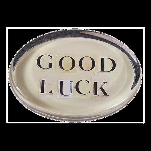 """John Derian - Oval """"Good Luck"""" Paperweight"""