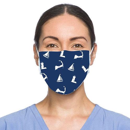 Cape Cod & Sailboat Motif Face Mask - Navy Blue