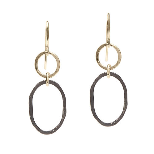 Oxidized Sterling Silver & 14kt Gold Filled Earrings - J&I