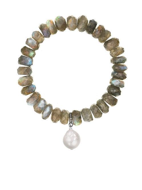 Labradorite & White Baroque Pearl Bracelet - Margo Morrison