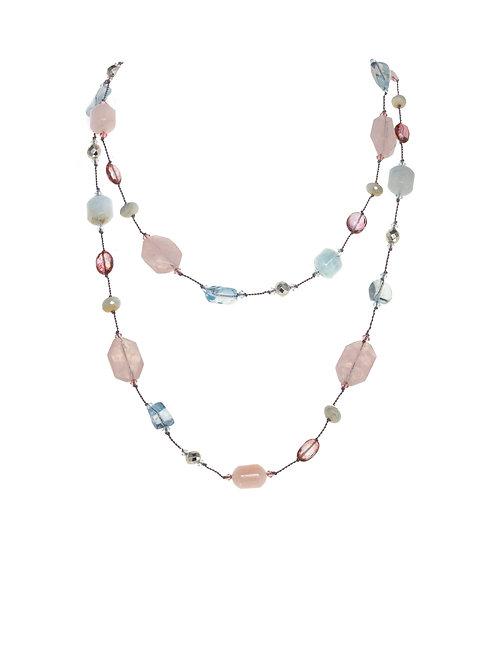 Margo Morrison - Blue Topaz, Pyrite, and Aquamarine Necklace