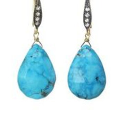 Turquoise & White Sapphire Earrings - Margo Morrison