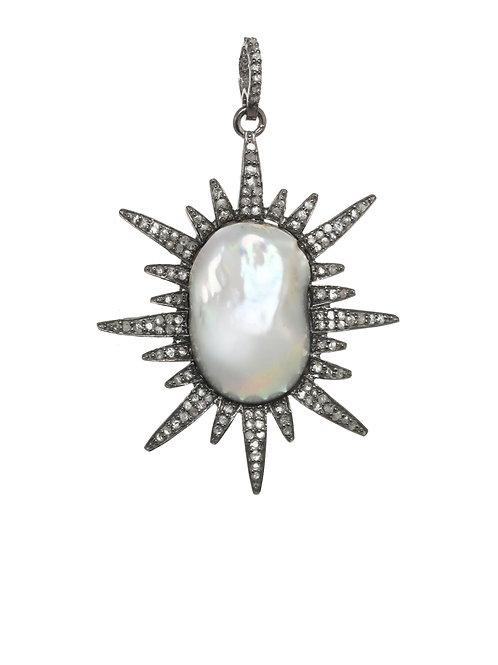 "Margo Morrison - Baroque Pearl & Pave Diamond ""Sun"" Charm"