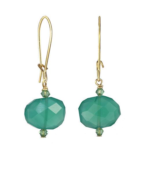 Margo Morrison - Green Onyx & 14kt Gold Fill Earrings