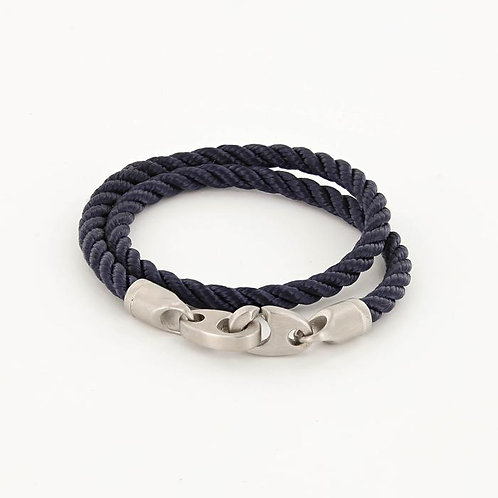 Double Wrap Rope Bracelet With Matte Stainless Steel Clasp - Navy