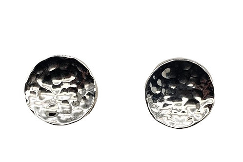 Hammered Disc Earrings - Sterling Silver