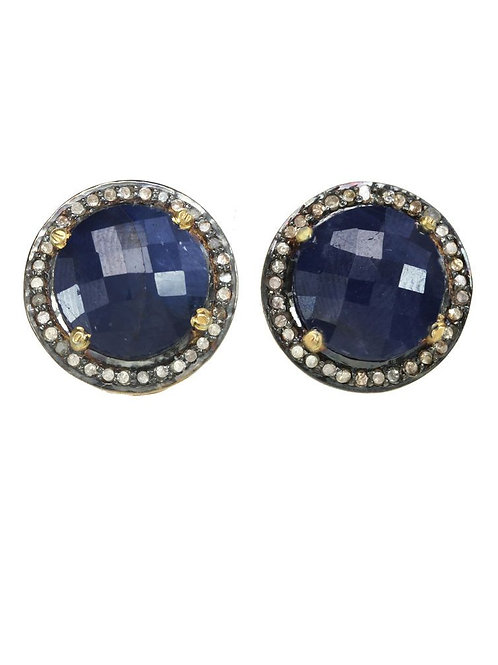 Sapphire & Diamond Post Earrings - Margo Morrison