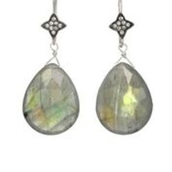 Labradorite & White Sapphire Earrings