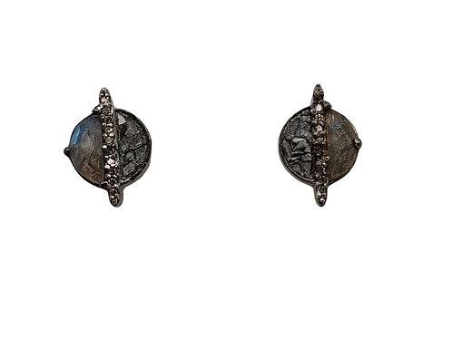 Labradorite, Pave & Sliced Diamond Earrings