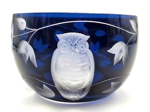 Artel - Owl Bowl - Hand Engraved & Hand Blown Crystal