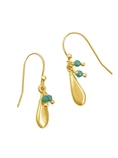 Philippa Roberts - Tiny Vermeil & Turquoise Drop Earrings