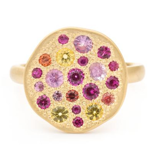 """Starburst"" Ring - Multi Colored Sapphires & 18kt Gold - Anne Sportun"