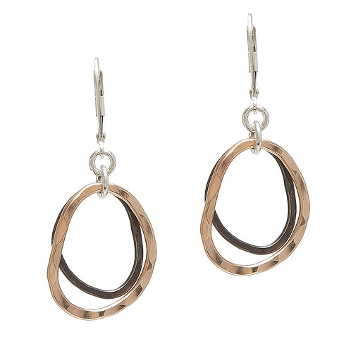 Oxidized Sterling Silver & 14kt Gold Fill Earrings - J&I