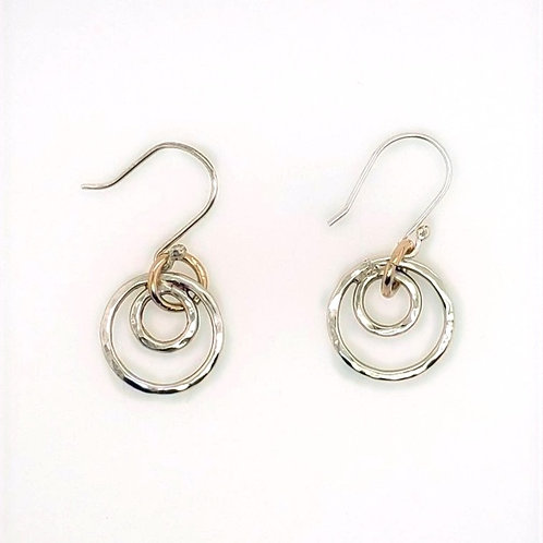 Sterling Silver & Gold Fill Hammered Rings Earrings