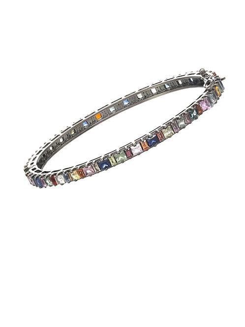 Multi-colored Sapphire Bangle Bracelet - Margo Morrison