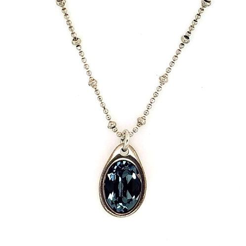 Uno de 50 - Bead Chain & Faceted Swarovski Crystal Drop Pendant