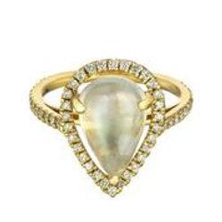 18kt Gold Moonstone & Diamond Ring - Margo Morrison