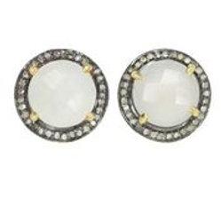 Moonstone & Pave Diamond Earrings - Margo Morrison