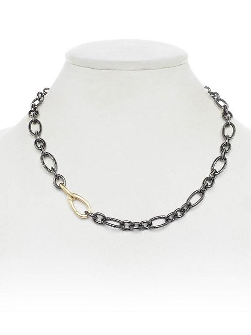 Rhodium Link Chain With 18kt Gold Vermeil Clasp - Margo Morrison