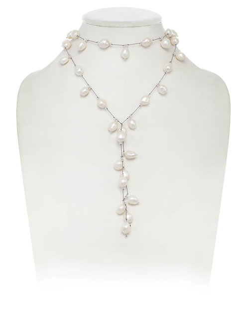 """Dancing Pearl"" Lariat Necklace"