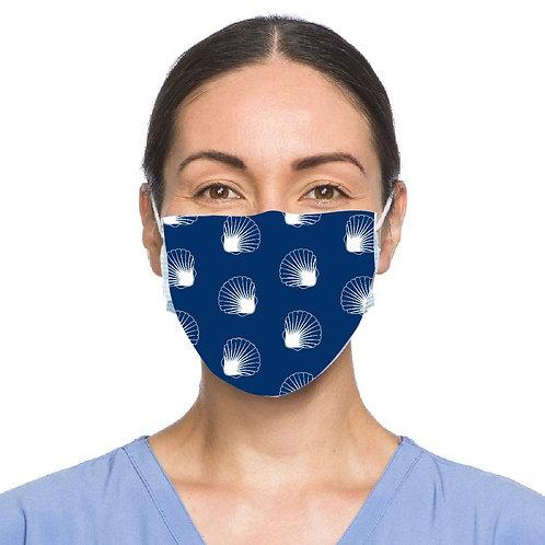Scallop Shell Motif Face Mask - Navy Blue