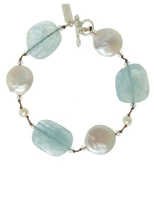 Aquamarine & Freshwater Pearl Bracelet