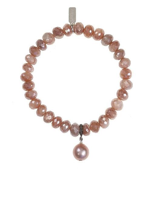 Peach Moonstone & Baroque Pearl Bracelet - Margo Morrison