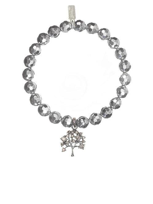 Pyrite & Pave Diamond Tree Motif Charm Bracelet - Margo Morrison