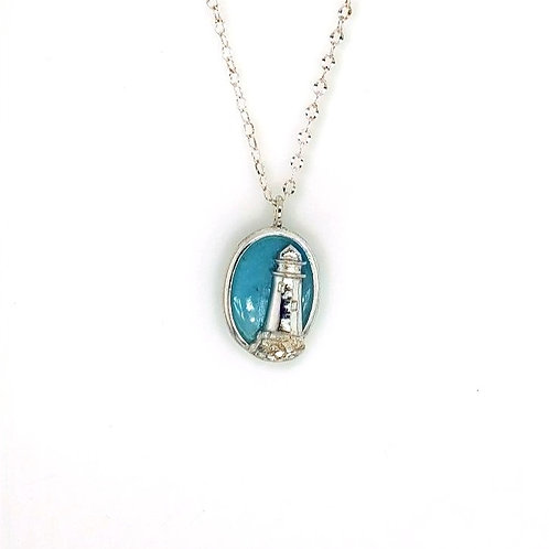 Lighthouse Pendant - Sterling Silver & Aqua Chalcedony
