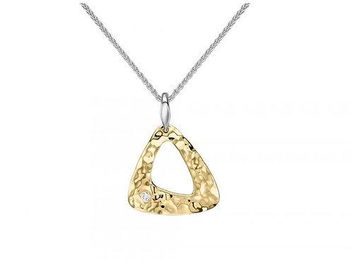 """Trillium"" Pendant - 14kt Gold Overlay, Diamond, Sterling Silver"