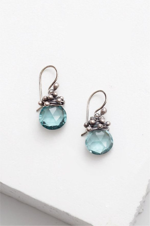 """Swarm"" Earrings - Aqua Quartz & Sterling Silver"