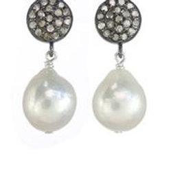Baroque Pearl & Pave Diamond Drop Earrings - Margo Morrison