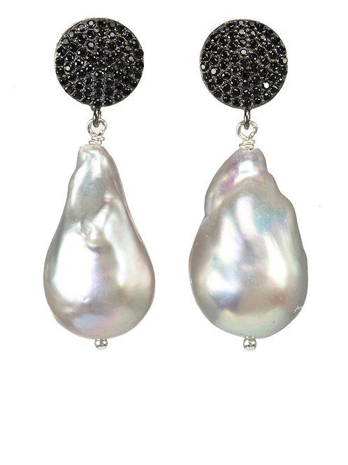 Grey Baroque Pearl & Black Spinel Earrings